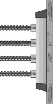 Stekverbinding waarbij stekankers in stripvormige inkassing zijn                        opgenomen