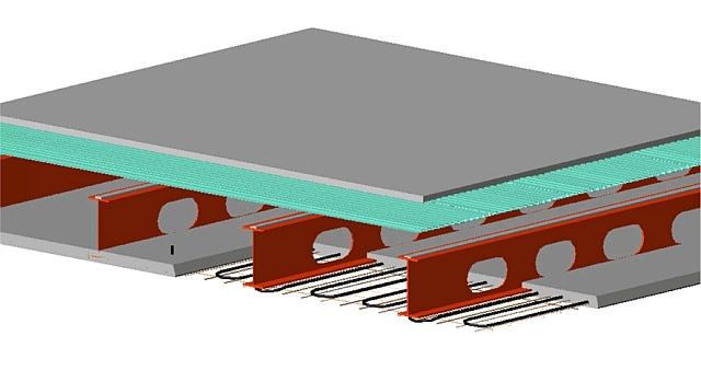 Schematische weergave staalbalkbetonplaatvloer (klik voor vergroting)