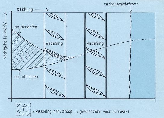 Vochtgradiënt en carbonatiefront
